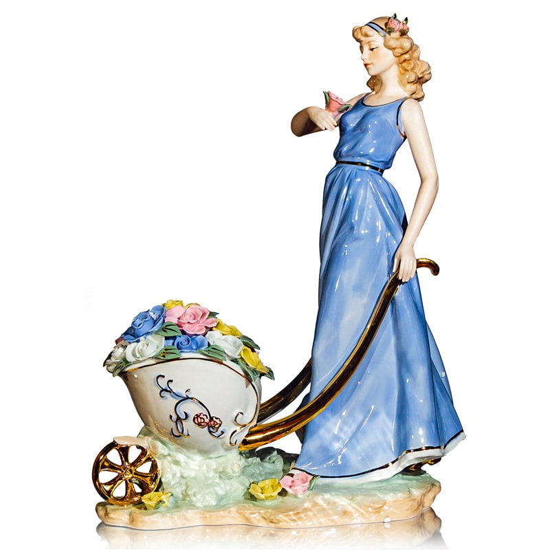 "Статуэтка ""Девушка с тележкой цветов"""