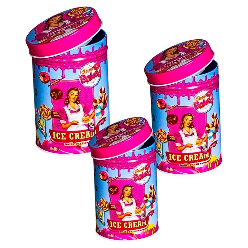 """Набор банок для сыпучих продуктов 4 шт """"Ice cream"""", круглые, 10,6*14 см,8,8*12,5 см,7,5*11 см,6*9 см"""